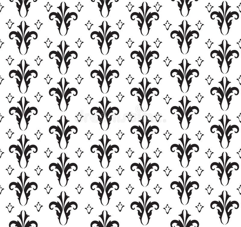 花卉无缝的背景。抽象黑白花卉几何无缝的纹理 库存例证