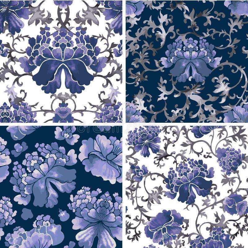 花卉无缝的背景,花纹花样传染媒介墙纸 库存例证