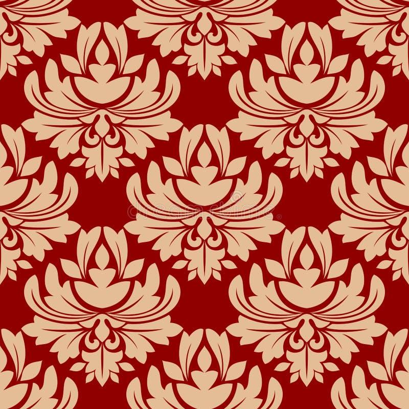 花卉无缝的蔓藤花纹样式 库存例证