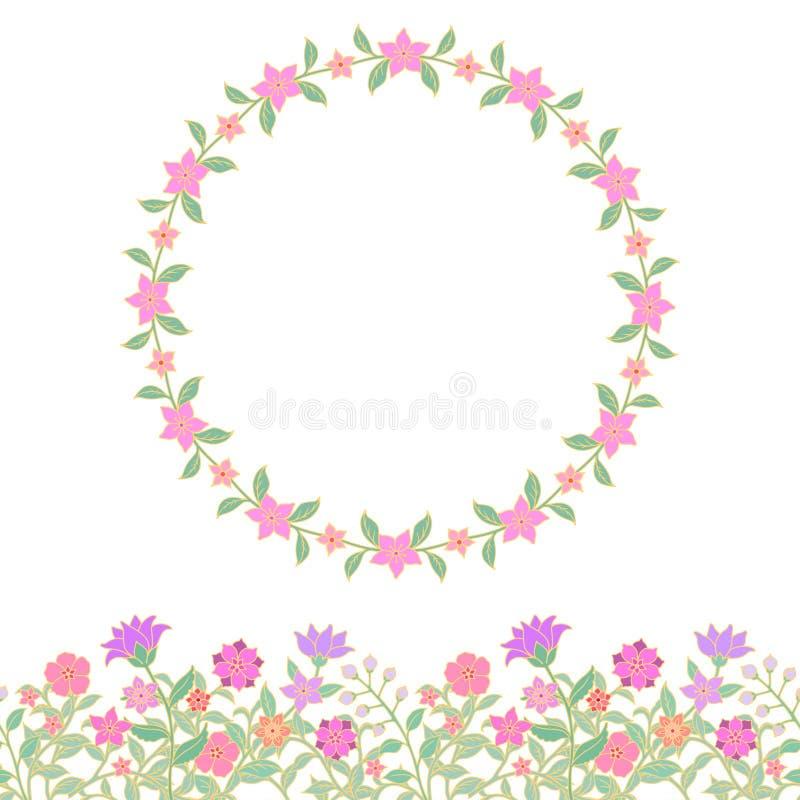花卉无缝的边界和圆的框架 库存例证