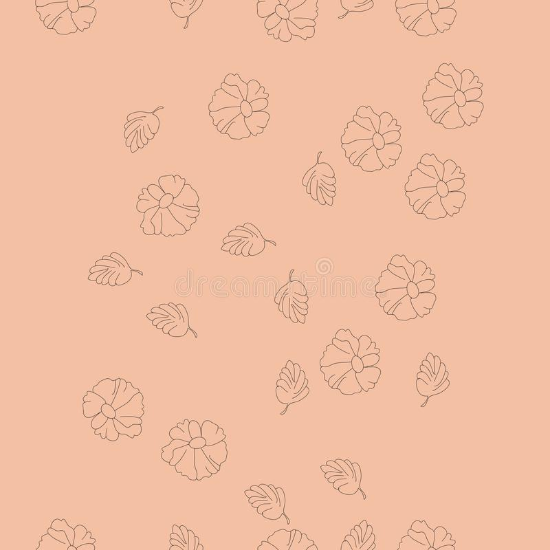 花卉无色的垂直的无缝的样式,拷贝空间 手d 库存例证