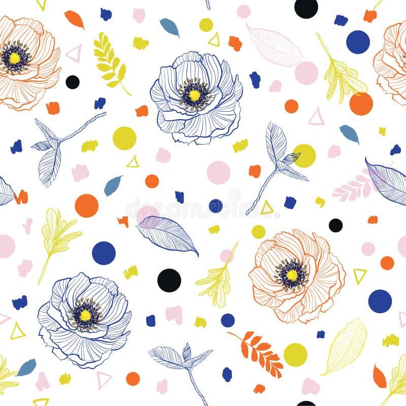 花卉时髦明亮的夏天线和叶子与五颜六色的ha混合 向量例证