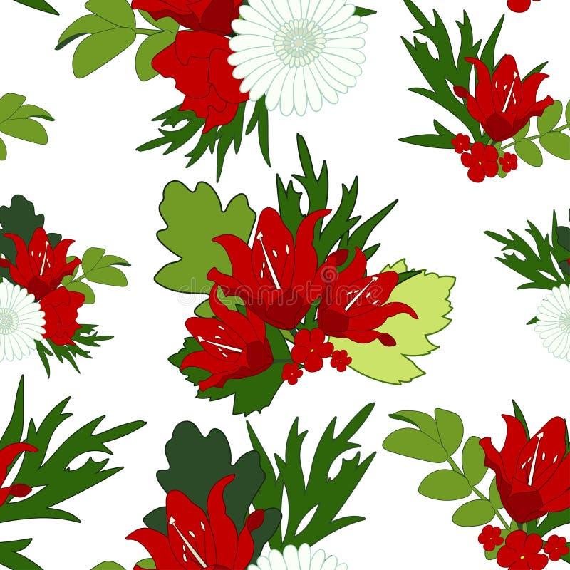 花卉明亮的抽象无缝的背景 红色百合花, gr 向量例证