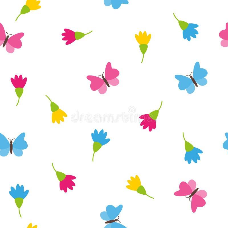 花卉春天五颜六色的开花和蝴蝶在白色背景浪漫概念无缝的样式 向量例证
