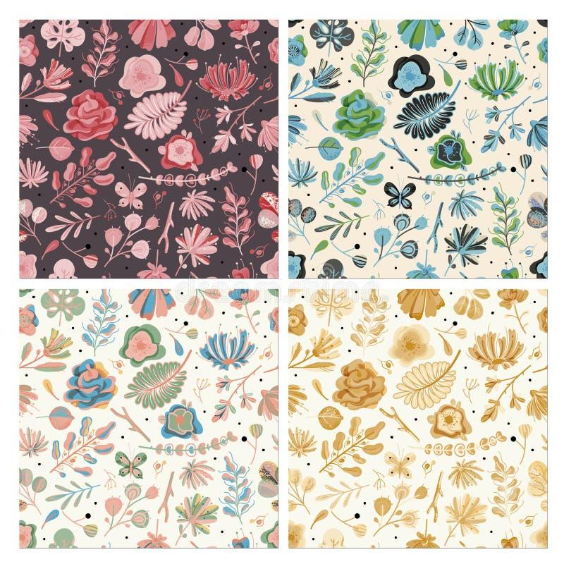 花卉无缝的样式集合 花卉春天夏天秋天庭院开花纺织品墙纸的植物的葡萄酒纹理 皇族释放例证