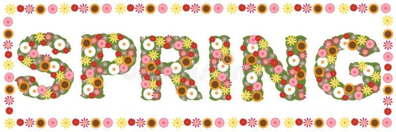 花卉春天字 向量例证