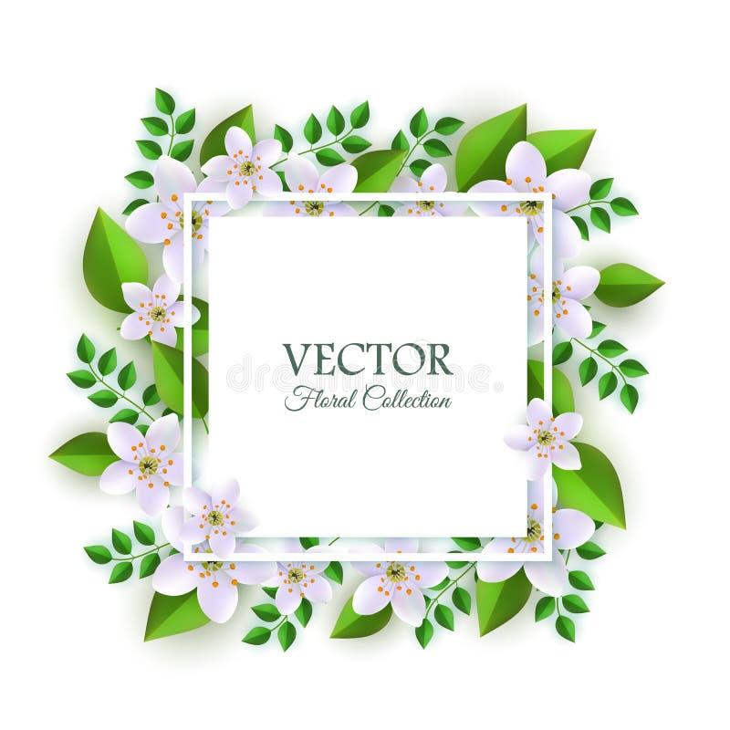 花卉构成的传染媒介例证与嫩轻的花和绿色叶子的在方形的卡片附近 皇族释放例证