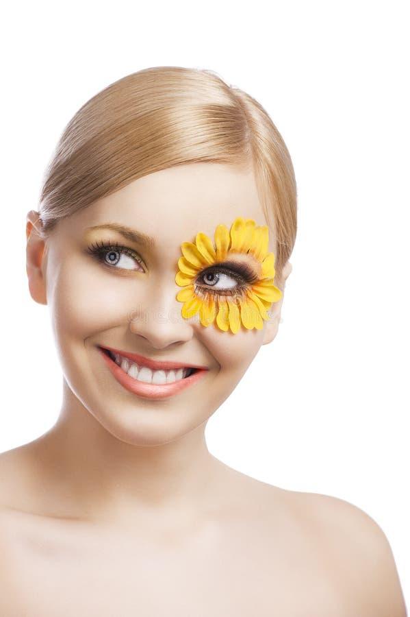 花卉构成,她笑 库存图片