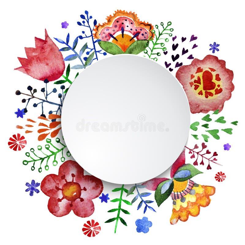 花卉构成,水彩 向量例证