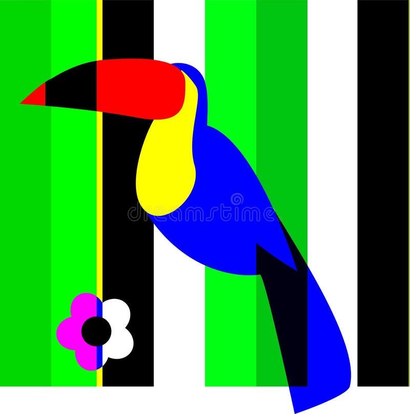花卉构成toucan在有花的绿叶 库存例证