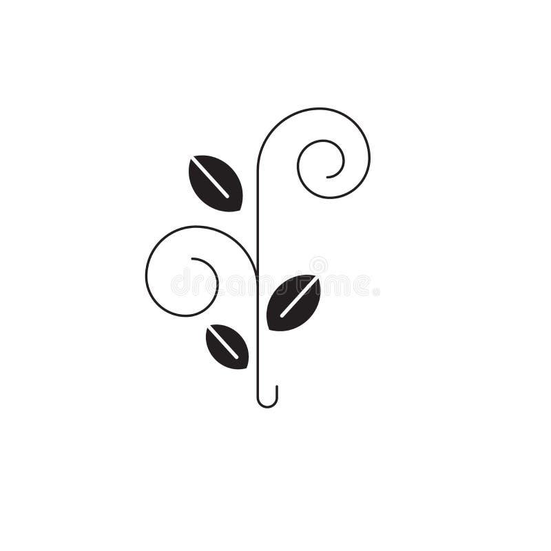 花卉树黑色传染媒介概念象 花卉树平的例证,标志 库存例证