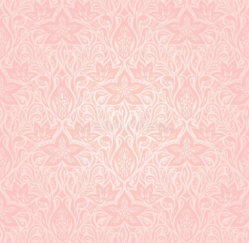 花卉桃红色传染媒介墙纸时髦时尚设计 向量例证