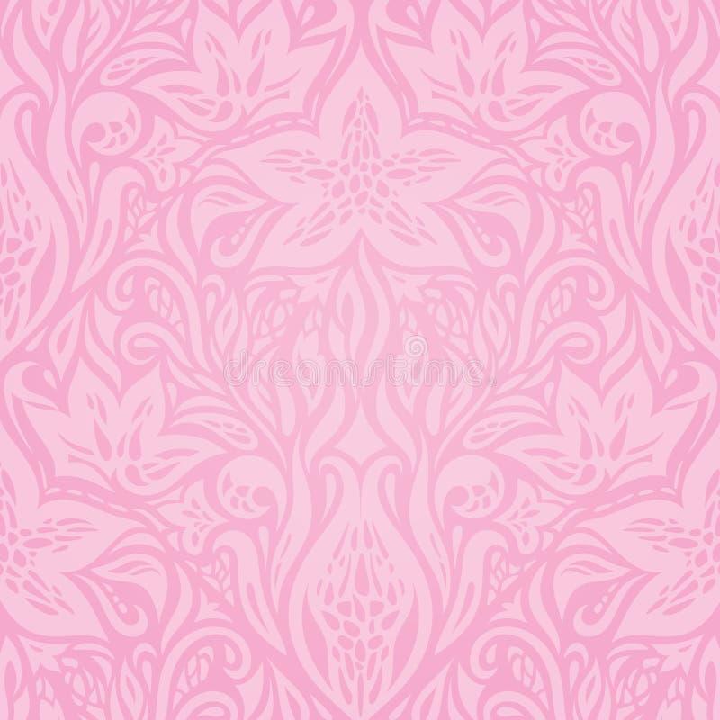 花卉桃红色传染媒介墙纸设计 皇族释放例证