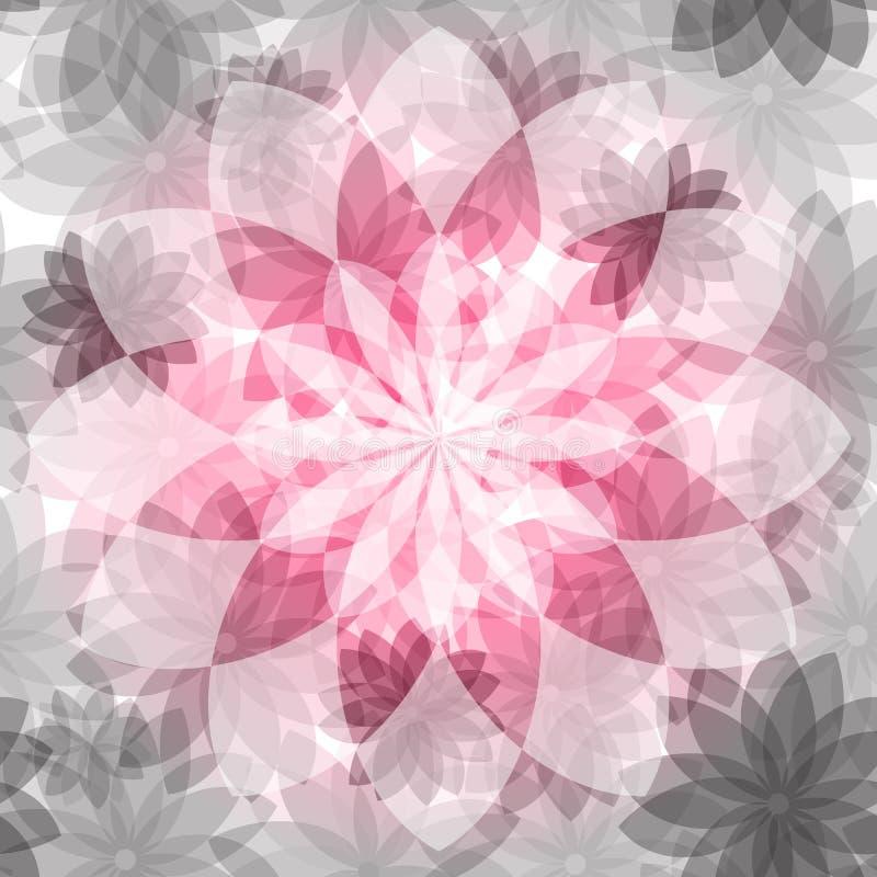 花卉桃红色灰色无缝的样式 向量例证