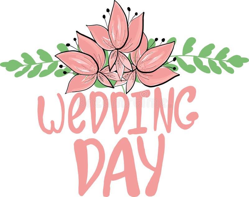 花卉框架从叶子和花和手图画字法婚礼那天 海报设计的传染媒介例证  向量例证