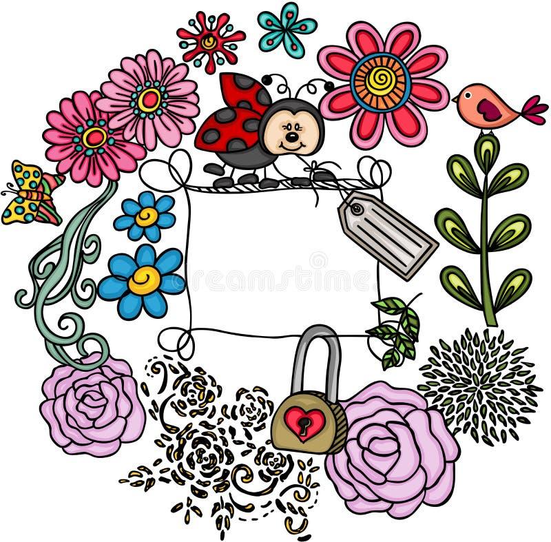 花卉框架例证瓢虫向量 向量例证