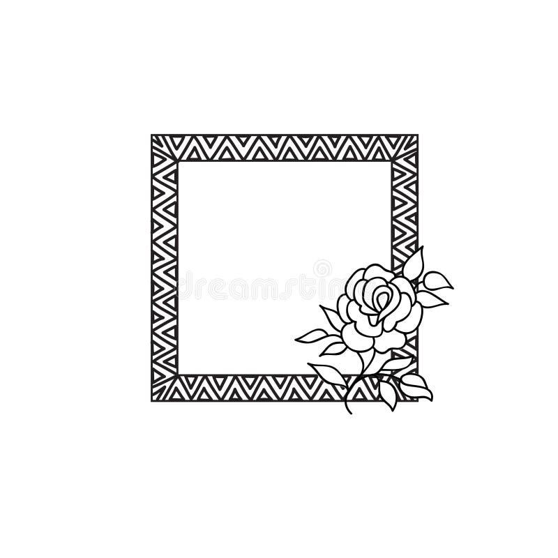 花卉框架华丽种族背景 花玫瑰色贺卡 库存例证