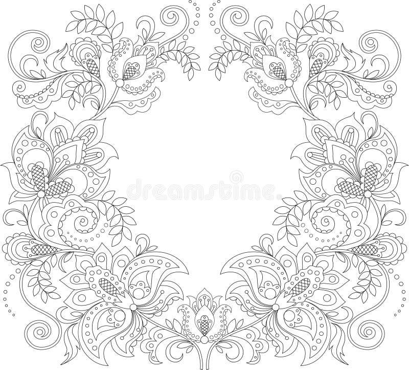 花卉框架构成系列 花卉装饰模式 装饰品背景 成人antistress着色页 库存例证