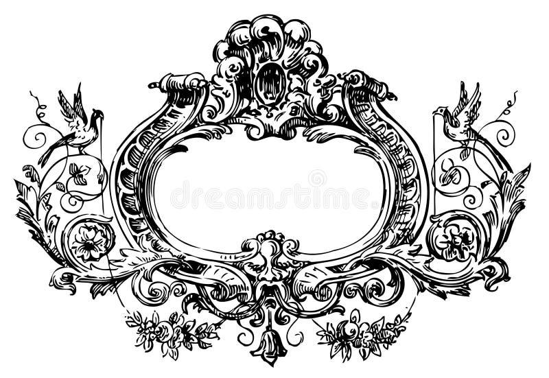 花卉框架维多利亚女王时代的著名人&# 皇族释放例证