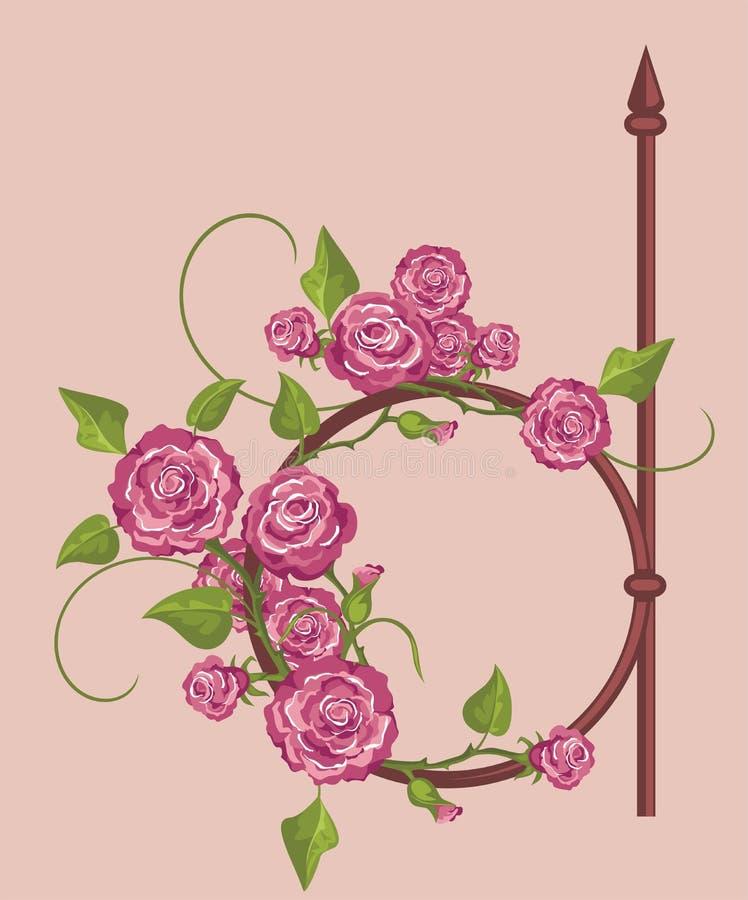 花卉框架葡萄酒 向量例证