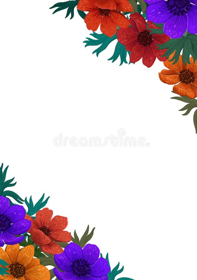 花卉框架,壁角设计 美丽的狂放的庭院 上色铅笔数字式例证 与美丽的垂直的设计 免版税库存照片