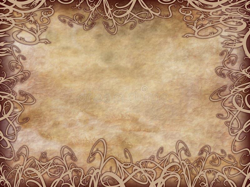 花卉框架grunge羊皮纸 库存例证