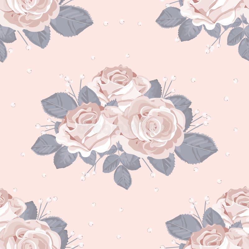 花卉模式减速火箭无缝 与蓝灰色的白玫瑰在粉红彩笔背景离开 也corel凹道例证向量 向量例证