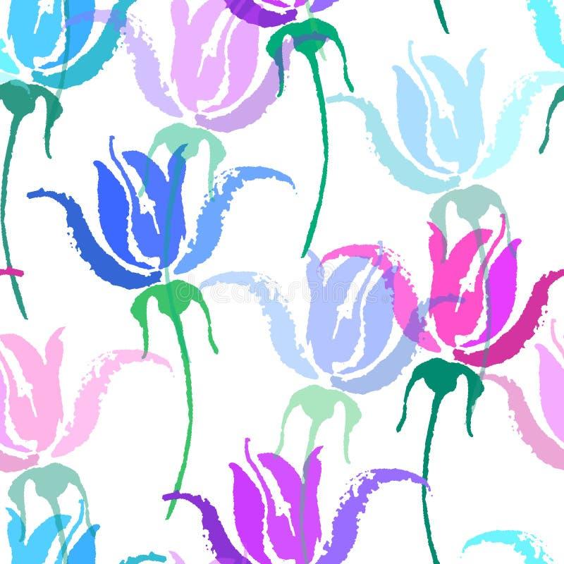 花卉模式无缝的向量墙纸 美好的传染媒介手拉的纹理 网页的浪漫植物的背景 向量例证