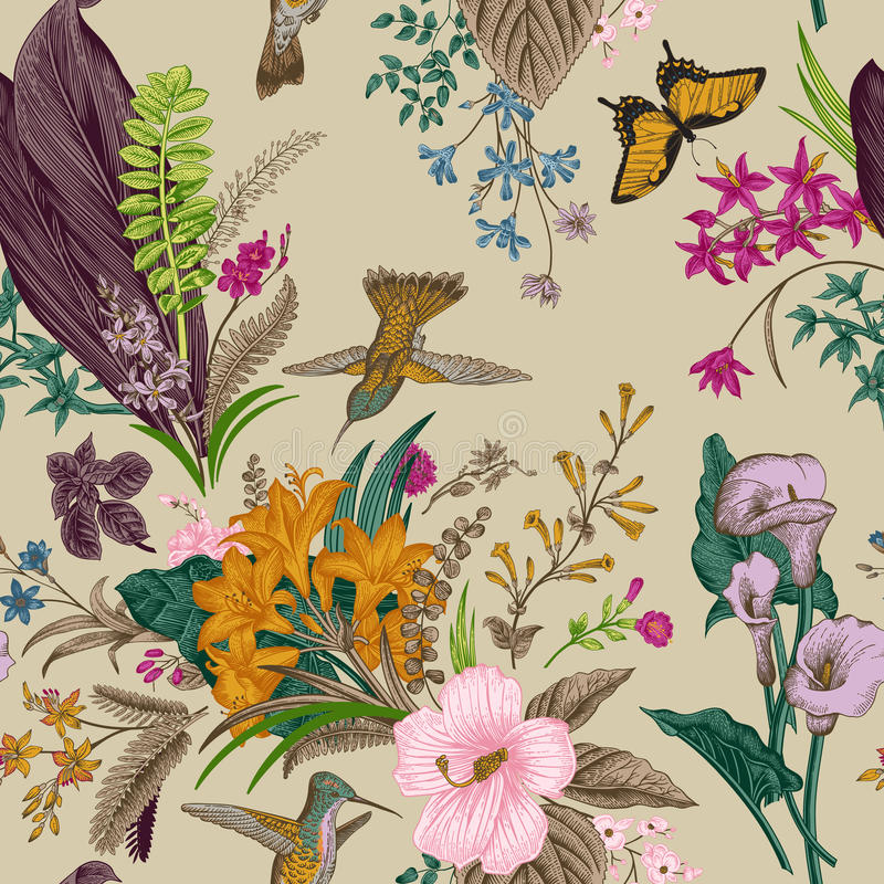 花卉模式无缝的向量葡萄酒 异乎寻常的花和鸟 库存例证