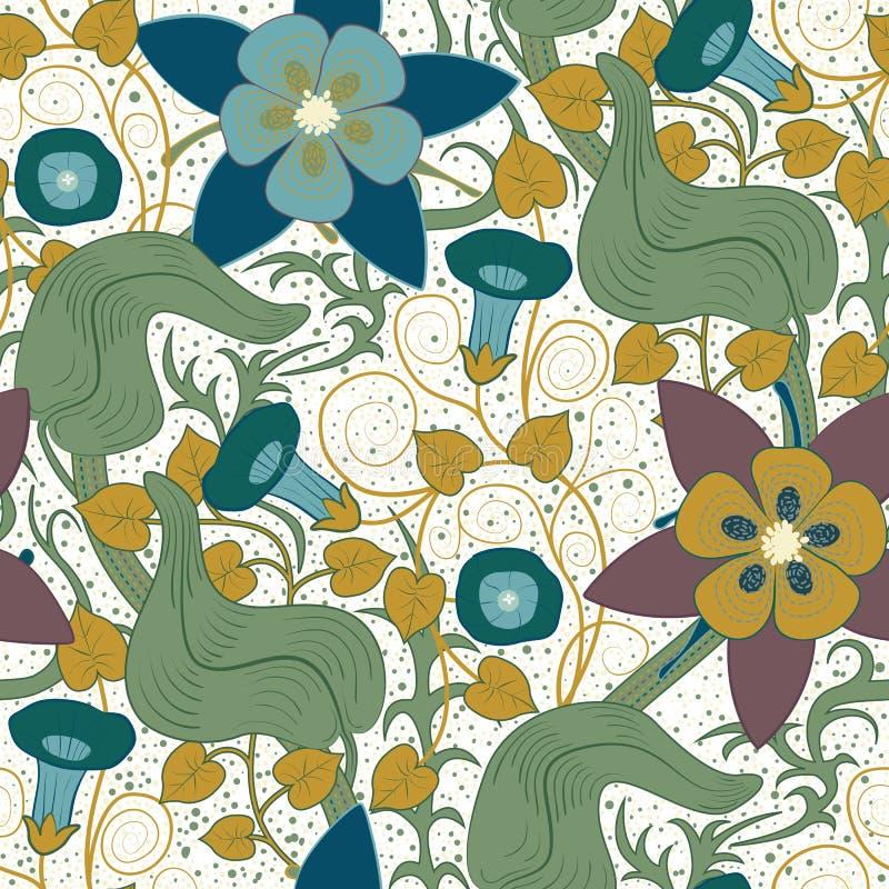 花卉模式无缝的向量葡萄酒 背景开花白色 向量例证
