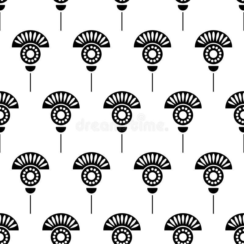 花卉模式无缝的向量 与花的Symmetrcial黑白装饰背景 库存例证