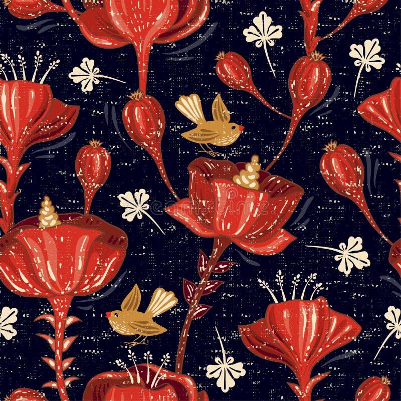 花卉模式无缝的向量 五颜六色的墙纸witn花,动物,鸟 网的手拉的传染媒介例证 向量例证