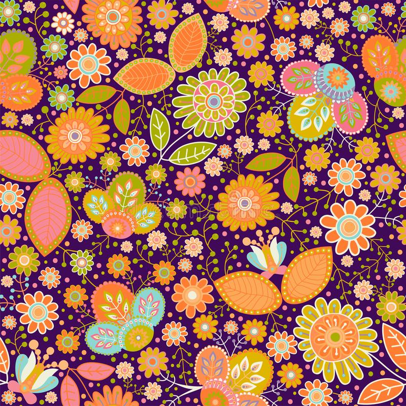 花卉模式无缝的向量 五颜六色的墙纸witn花,动物,鸟 网的手拉的传染媒介例证 库存例证