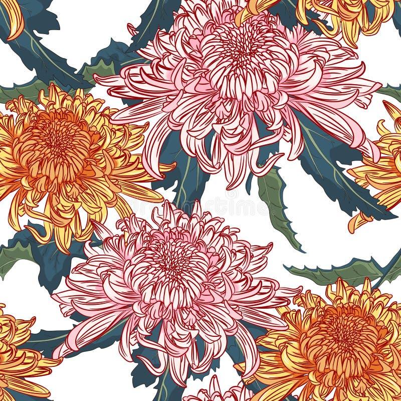 花卉模式无缝的向量 日本全国花桃红色桔子菊花 向量例证
