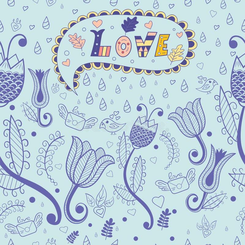 花卉模式无缝的向量 爱 库存例证