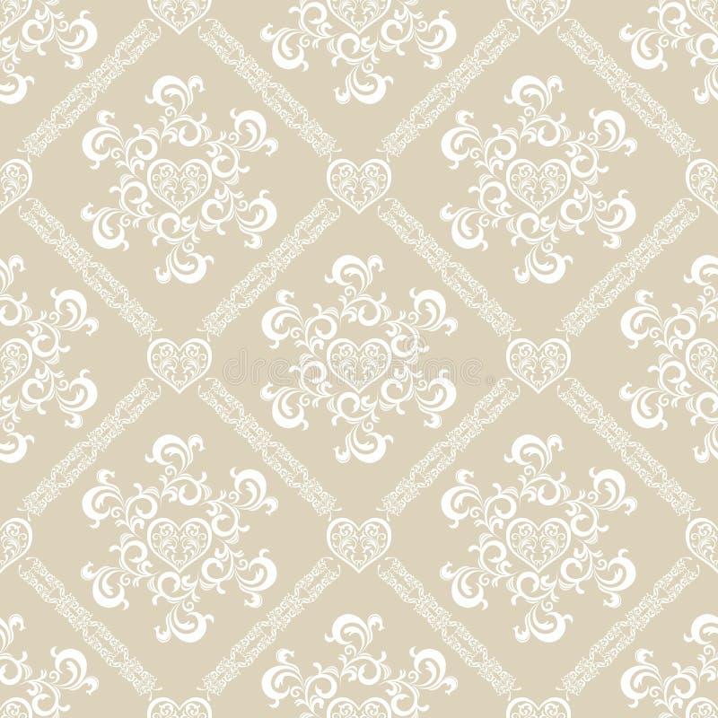 花卉模式无缝的白色 向量例证