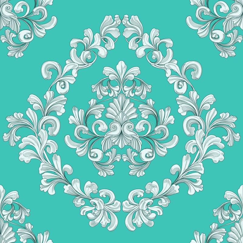 花卉模式无缝的盖瓦墙纸 向量例证
