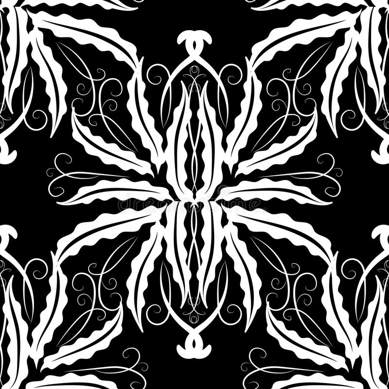 花卉模式无缝的葡萄酒 传染媒介单色黑色和whi 库存例证