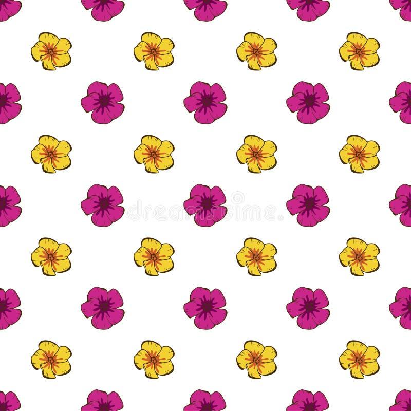 花卉模式无缝的葡萄酒 在白色的逗人喜爱的简单的样式花 抽象手拉的传染媒介背景 库存例证