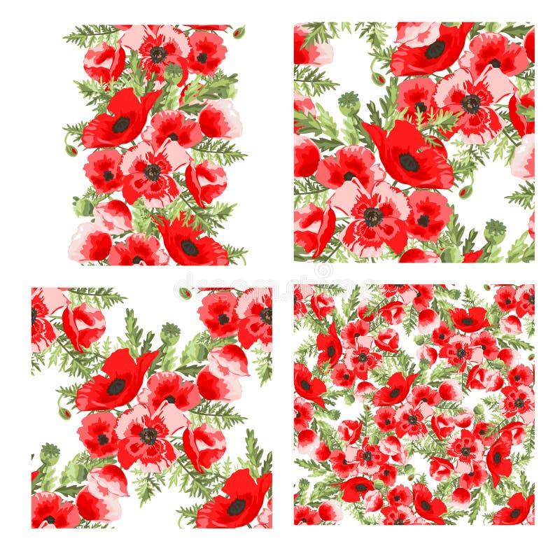 花卉模式无缝的集 向量例证
