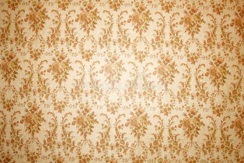 花卉模式葡萄酒墙纸 图库摄影