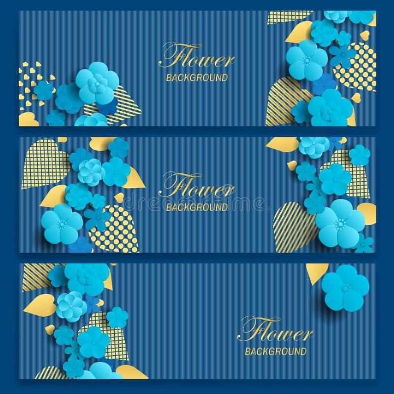 花卉横幅设置与蓝色花和金黄叶子 设置小册子或证件的水平的横幅 向量例证