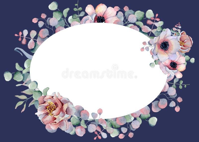 花卉水彩卡片模板手拉的例证花的布置 库存例证