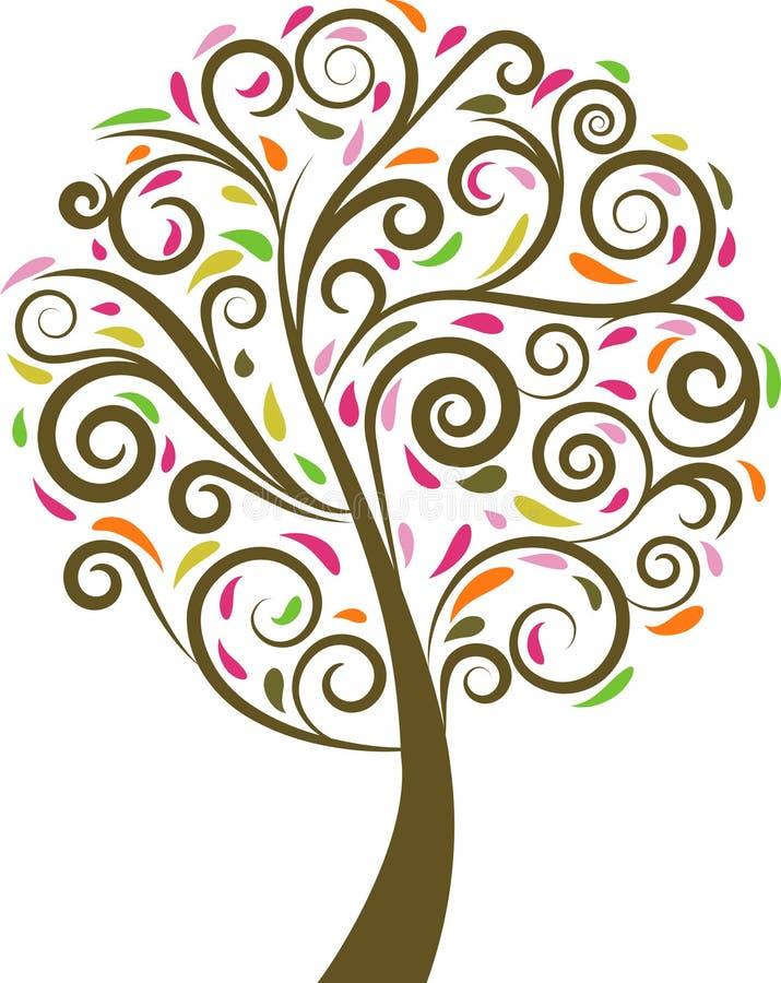 花卉漩涡结构树 向量例证