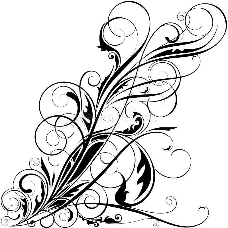 黑花卉漩涡设计 皇族释放例证