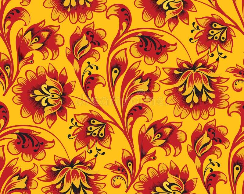 花卉瓦片样式 花装饰品 在传统民间俄国样式的装饰华丽背景 库存例证