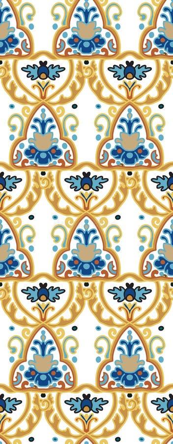 花卉瓦片背景,传统东方主题,传染媒介无缝的样式 皇族释放例证