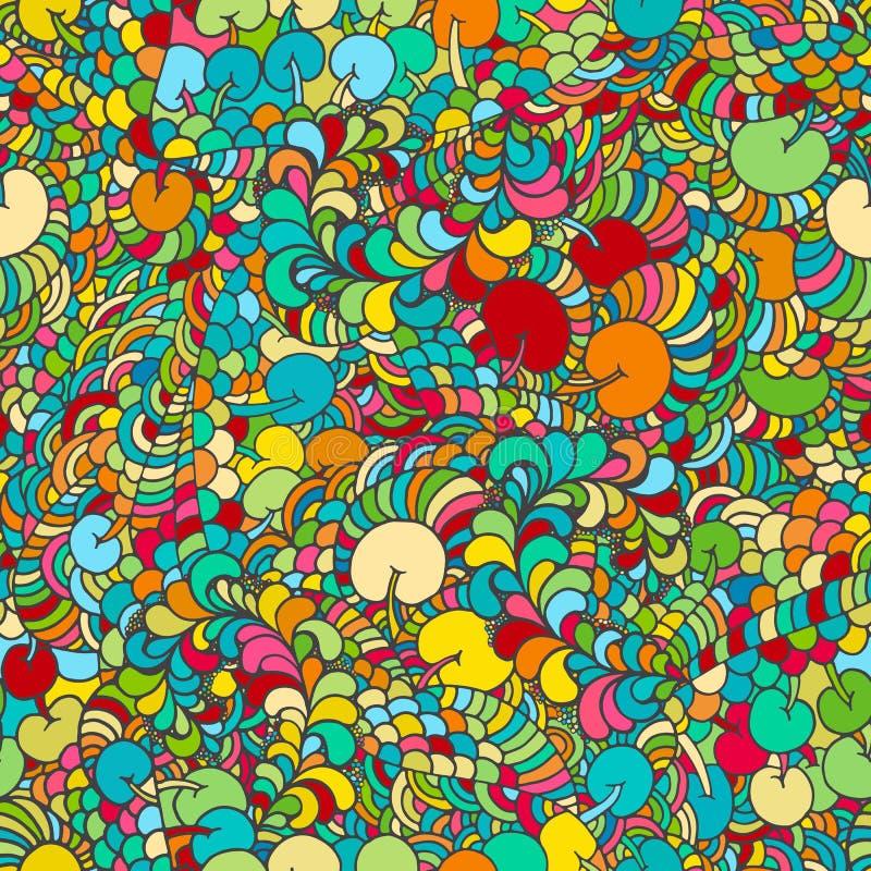花卉生动的抽象波浪装饰品,手拉的传染媒介例证由简单的乱画做成 禅宗缠结样式,被缠结的纹理 皇族释放例证