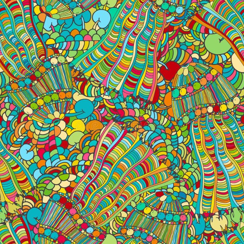 花卉生动的抽象波浪装饰品,手拉的传染媒介例证由简单的乱画做成 禅宗缠结样式,被缠结的纹理 库存例证