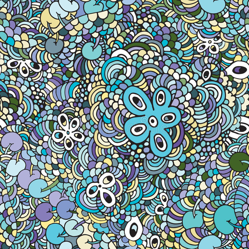 花卉生动的抽象波浪装饰品,手拉的传染媒介例证由简单的乱画做成 禅宗缠结样式,被缠结的纹理bo 皇族释放例证